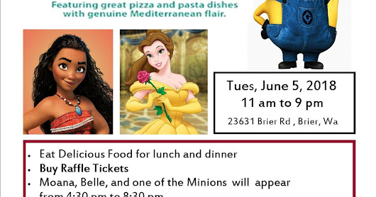 Brier Pizza/Holly House Fundraiser - Moana, Belle, and a Minion - 2018
