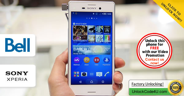 Factory Unlock Code Sony Xperia M4 Aqua from Bell