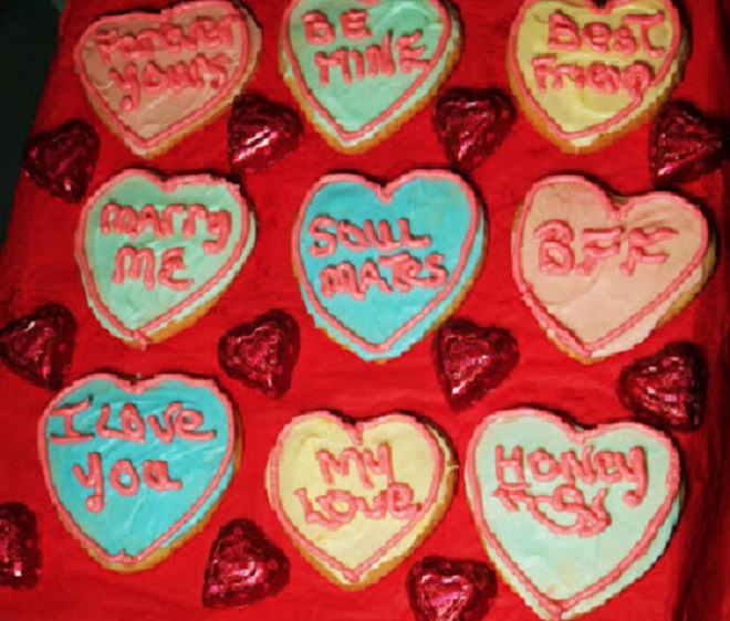 These are a butter cookie Italian dough to cut out heart shaped cookies for Valentines Day
