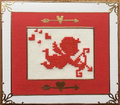 Geborduurd monochroom Valentijn engeltje / cross stitch monochrome Valentine angel