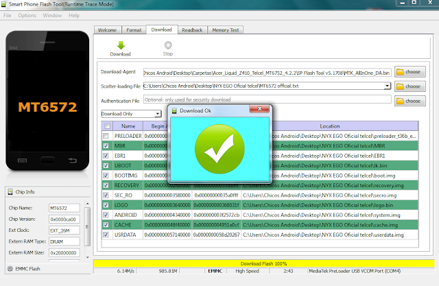 Cargar software móvil NYX EGO