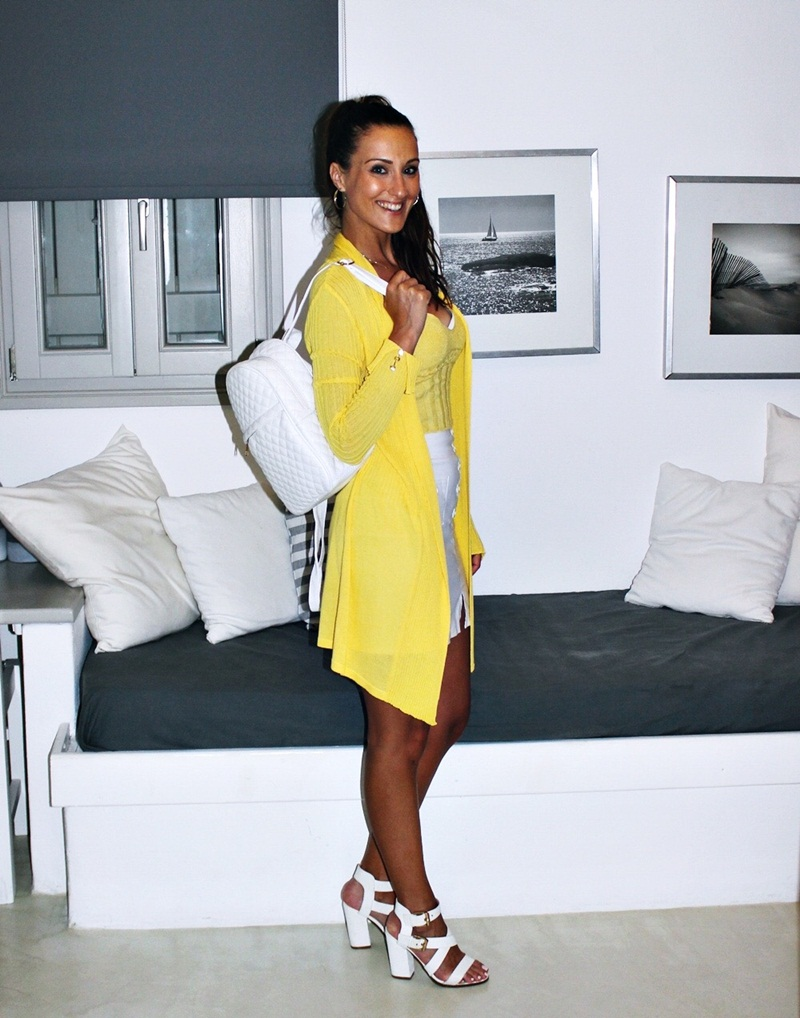 how to wear yellow and white, summer outfit idea