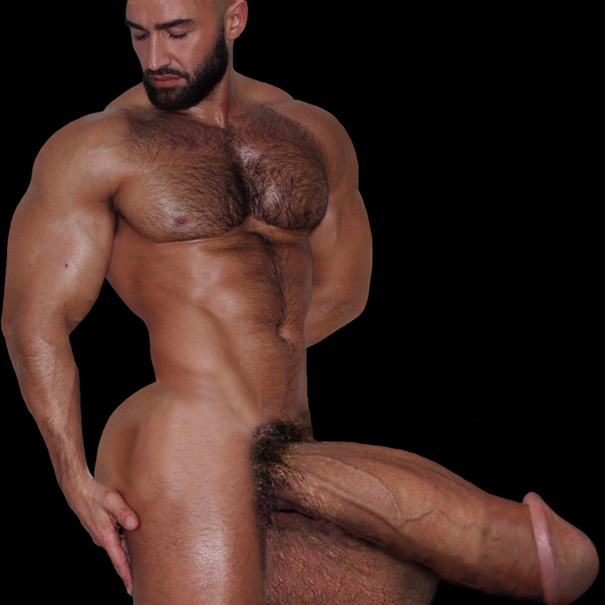 Bulging with muscles, a bookshelf bubble butt, and a huge, thick, veiny,  mushroom-headed monster cock that rests on top of his double  basketball-sized cum ...