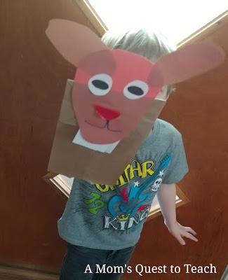 Putting together Paper Bag Goat Puppet