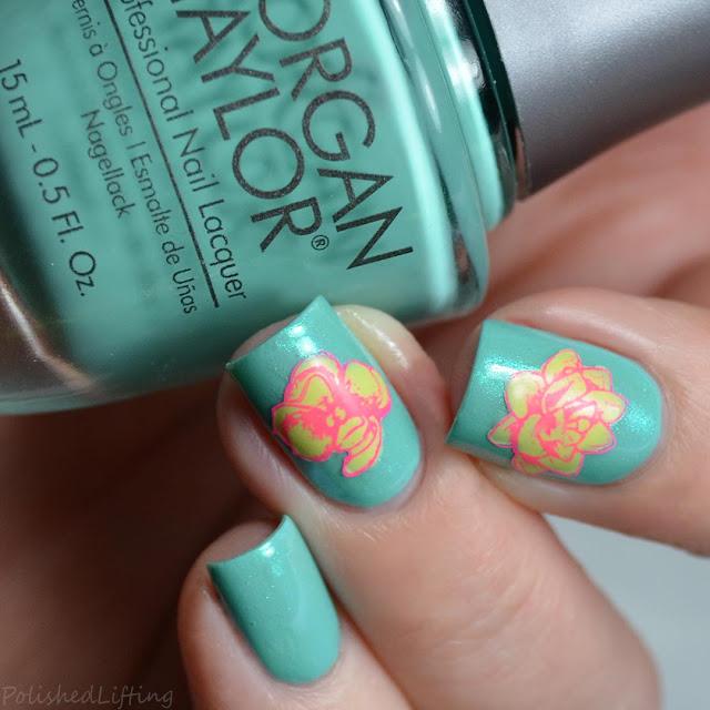 spring flower desert rose nail art