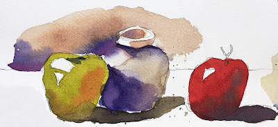 watercolor still life exercise on Fabriano Artistico cold press paper with Masters Touch 8 round brush