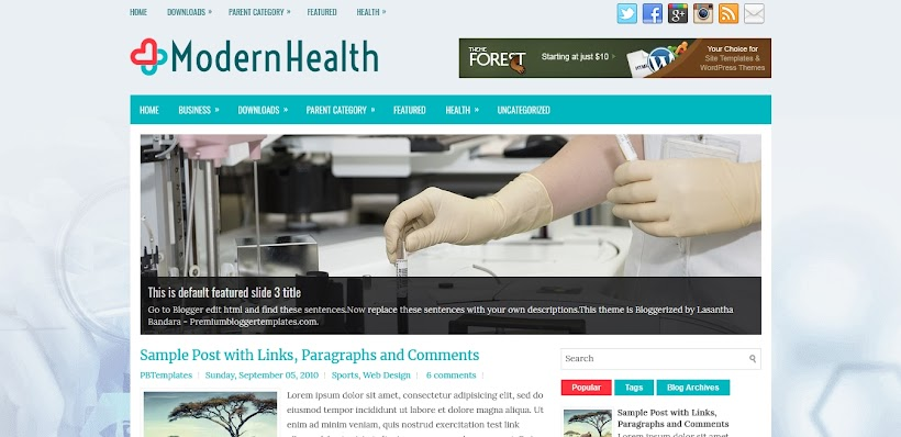 ModernHealth Free Blogger Template