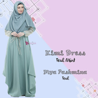 Gamis Valisha Kimi Dress Teal Mint