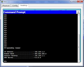 Выполнение ipconfig /renew на PC0