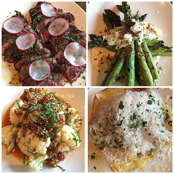 Cauliflower, asparagus, skirt steak, and spaghetti squash at OX in Portland, Oregon