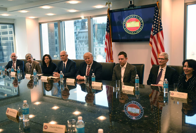 Trump's meeting with big techs CEOs on 14 Dec 2016