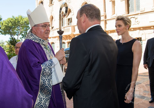 Prince Albert II and Princess Charlene of Monaco attended a mass for the terrorist attack victims in the city of Nice on the evening of the French National Day