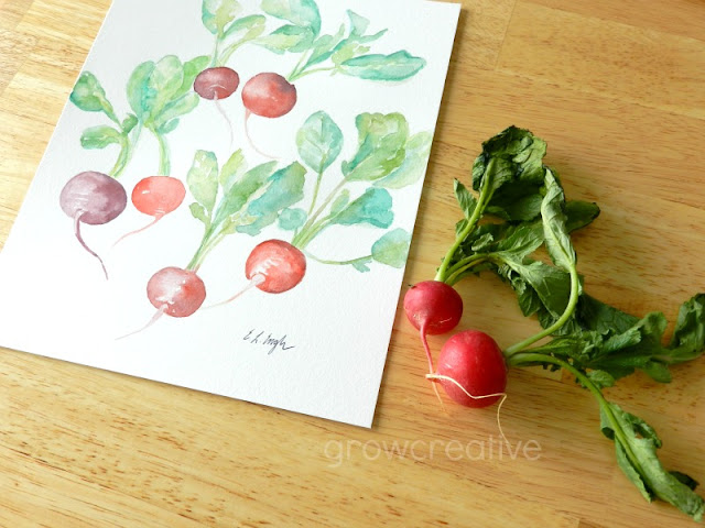 Original Watercolor Radishes Painting by Elise Engh: growcreative