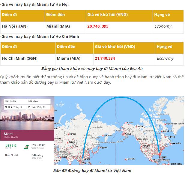 giá vé máy bay di miami từ hà nội và sài gòn