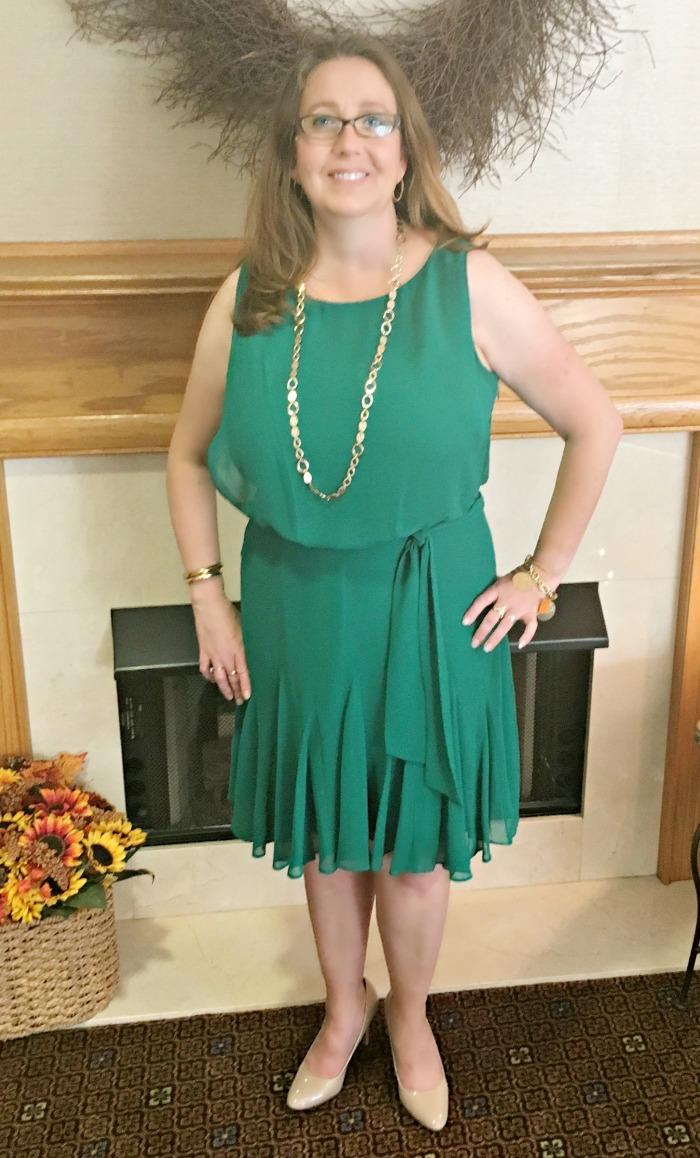 Green Ralph Lauren Cocktail Dress - perfect for an afternoon wedding