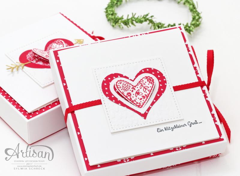 Mini Schokoladen Verpackung mit Karte - Valentinstag mit Stampin up