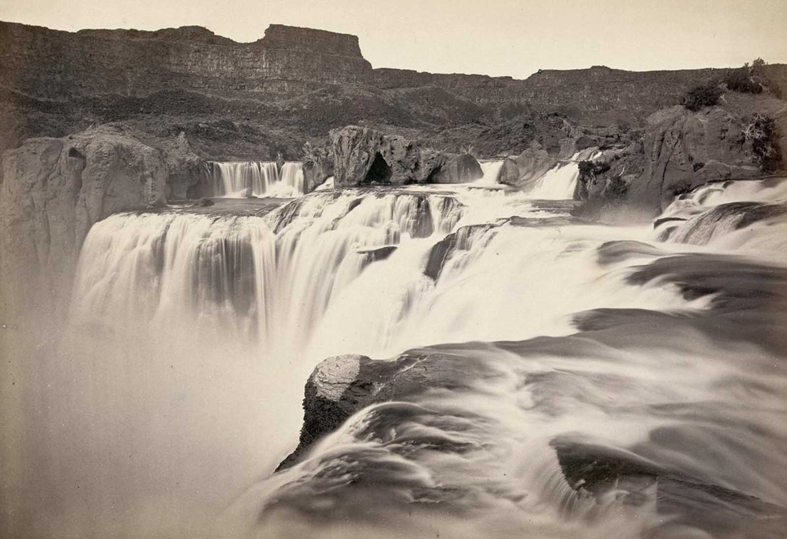Shoshone Falls, Snake River, Idaho. A view across top of the falls in 1874.