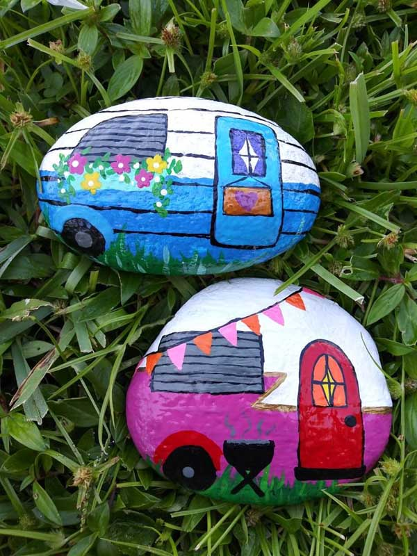 rock painting idea - painted rocks that look like trailer campers