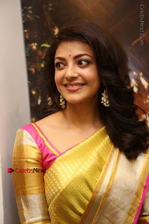 Actress Kajal Agarwal Stills in Golden Silk Saree at Trisha Sesigner Store Launch  0003.jpg