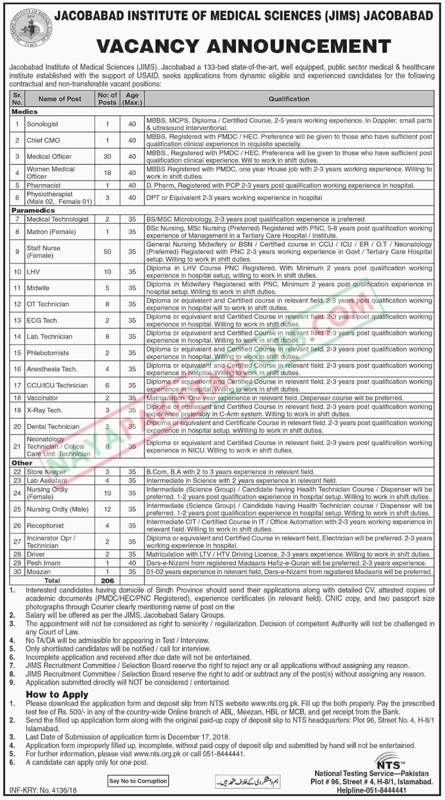 Latest Vacancies Announced in Jacobabad Institute Of Medical Sciences 3 December 2018 - Naya Pakistan