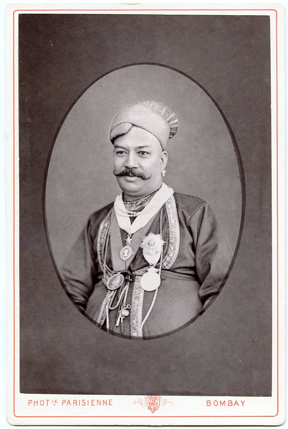 Raja Sir Tanjore Madhava Rao, KCSI (c. 1828 - 1891), also known as Sir Madhava Rao Thanjavurkar - 1880