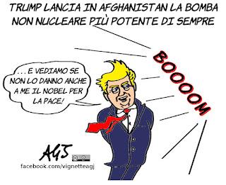 Gbu-43, afghanistan, trump, nobel per la pace, satira, vignetta