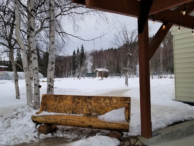 Bench outside the pool house at Chena Hot Springs Resort