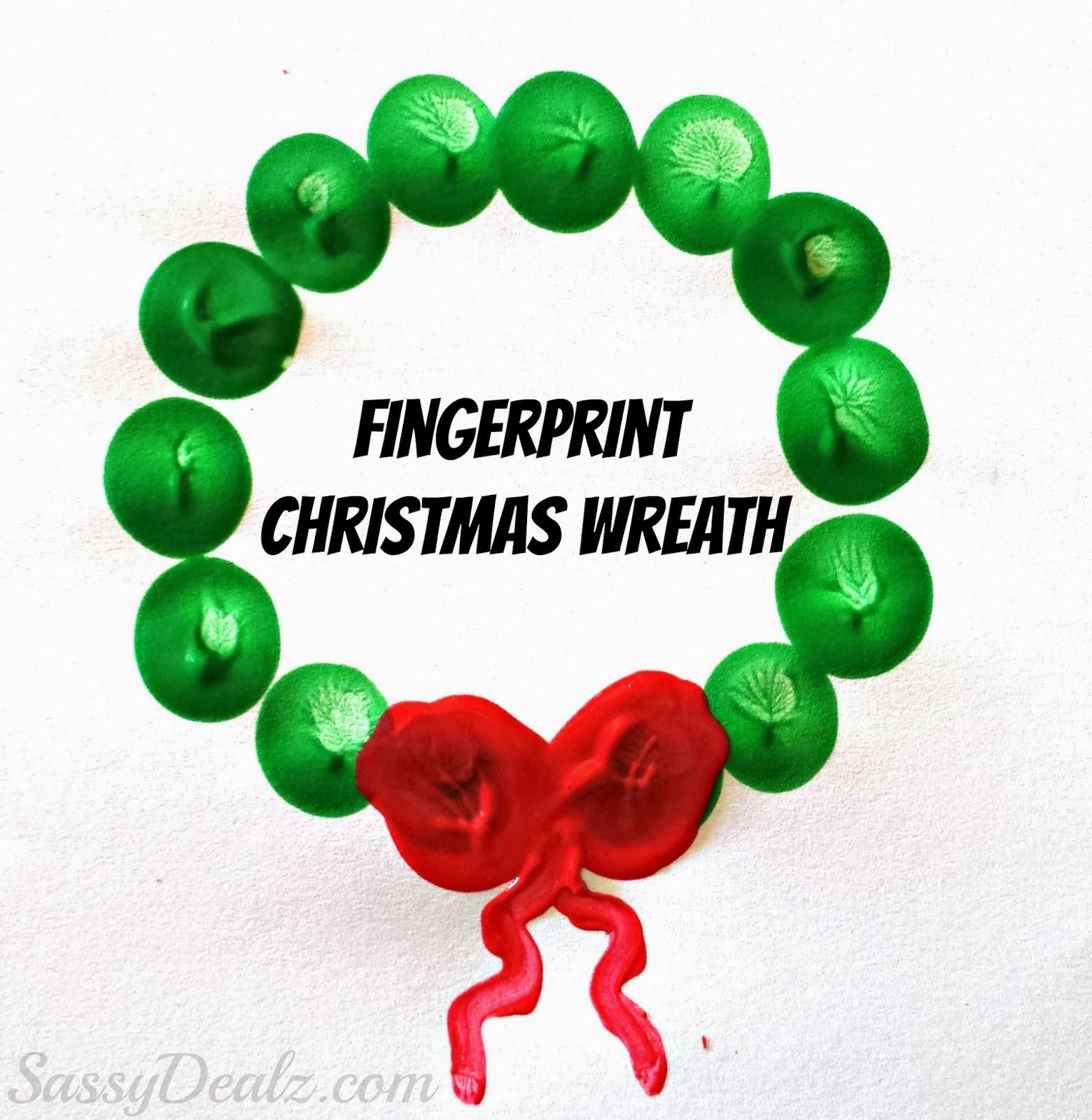 Cute Fingerprint Christmas Wreath Craft For Kids