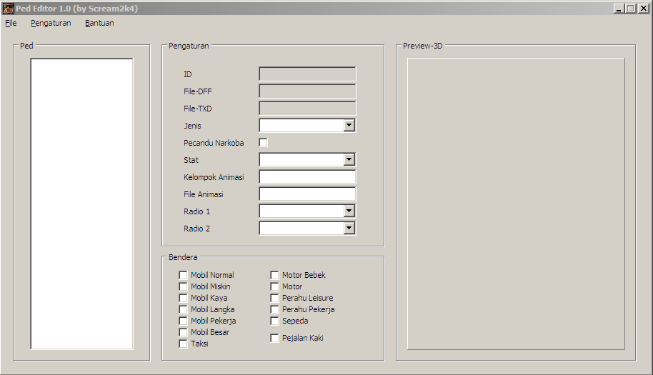 Screenshot Ped Editor 1.0 Bahasa Indonesia
