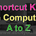 Shortcut key in computer, Shortcut key A to Z, Shortcut key