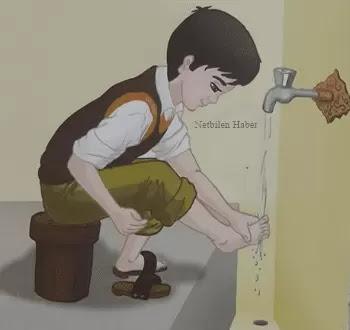 abdest alırken sol ayak yıkama