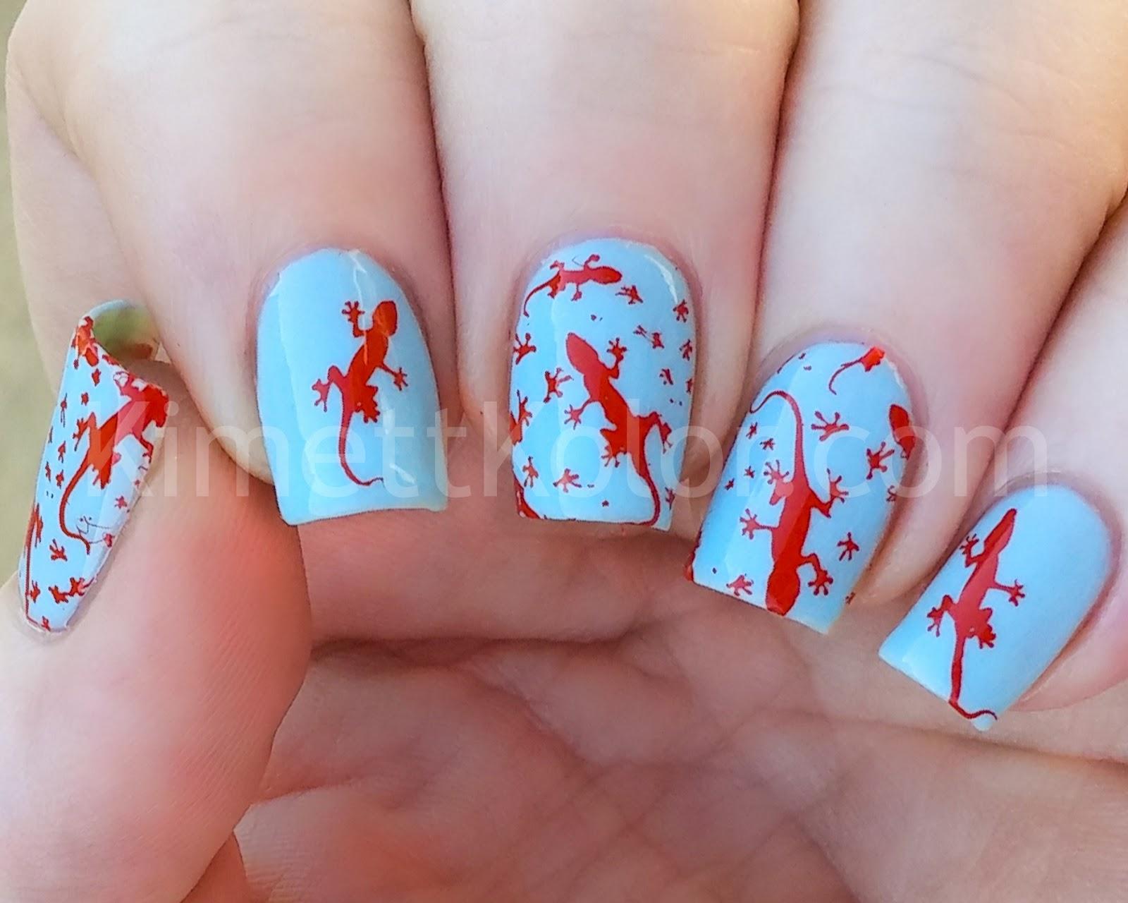 Kimett Kolor Salamander Stamping Nail Art
