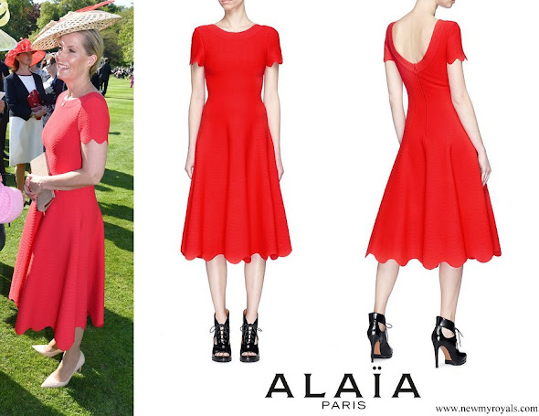 Countess Sophie of Wessex wore Alaïa Scalloped wavy stripe knit dress