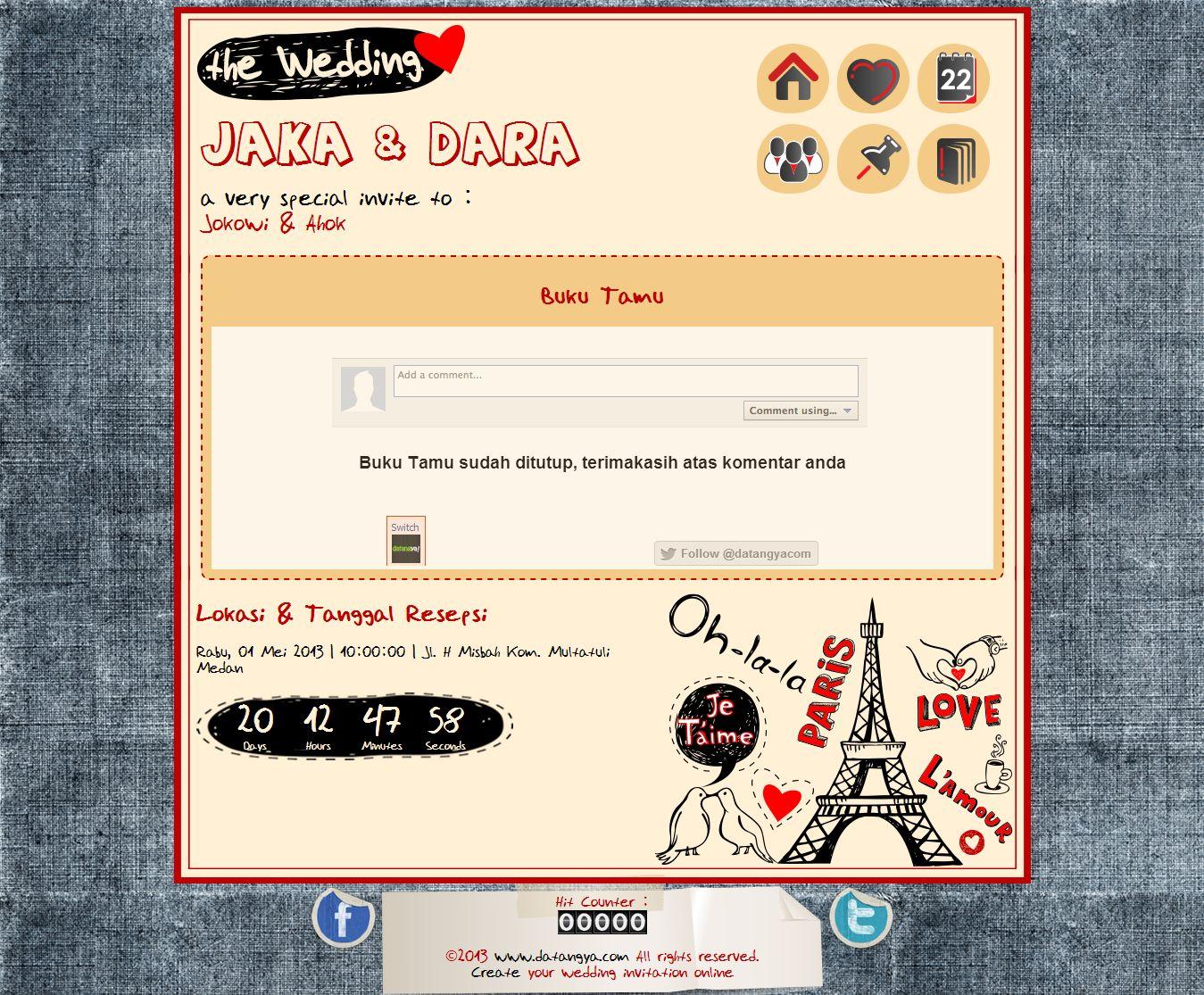 Undangan Online Love In Paris Buku Tamu Undangan Online Love