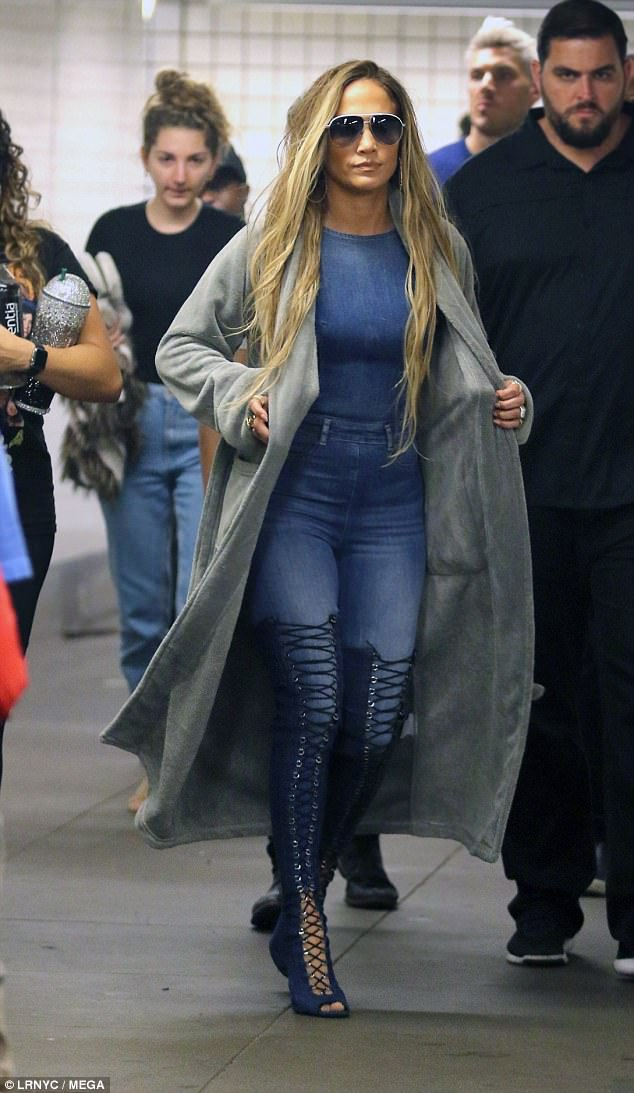 J Lo Is Breathtaking In Denim Jumpsuit And Thigh High