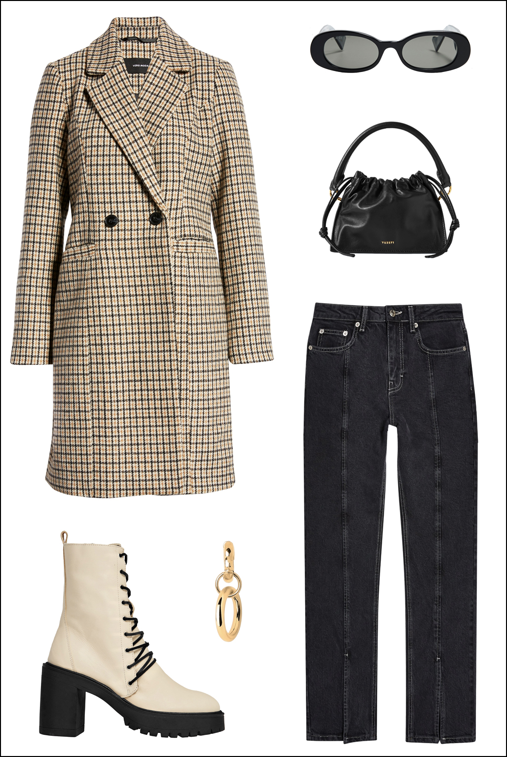 How to Wear 2 of Winter's Biggest Fashion Trends: Plaid Coat and Lug-Sole Boots