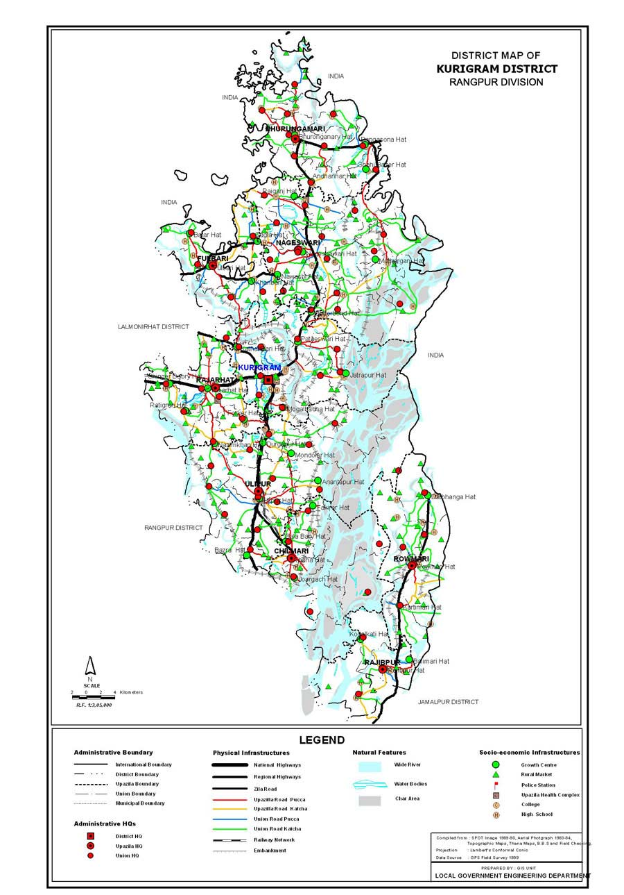 Kurigram District Map Bangladesh