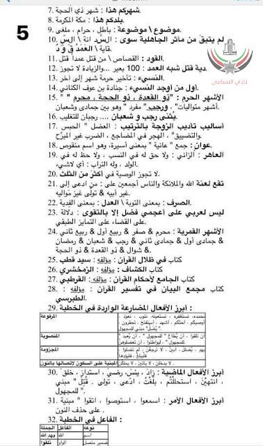 مكتبتي ال البيت - أسئلة وملخص مادة عربي 101