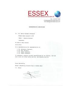 Representative Certificate From Our Principal