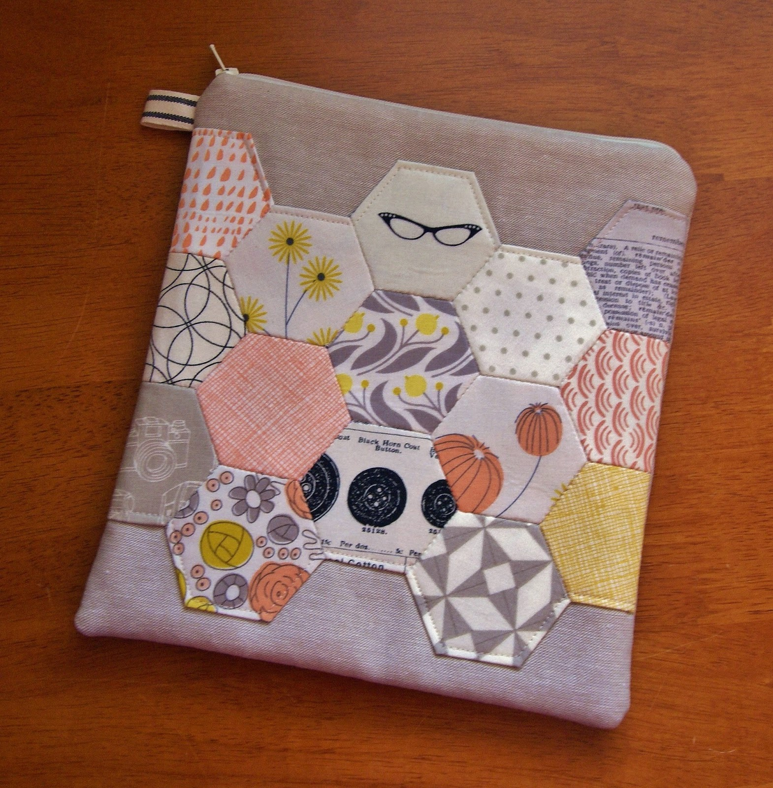 Grey Abbey Spring Hexagon Pouch by Fabric Mutt