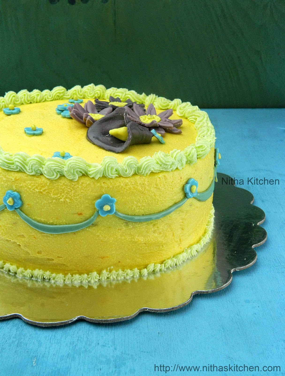 Nitha Kitchen: Eggless Mango ButterCream Frosting Butter ...