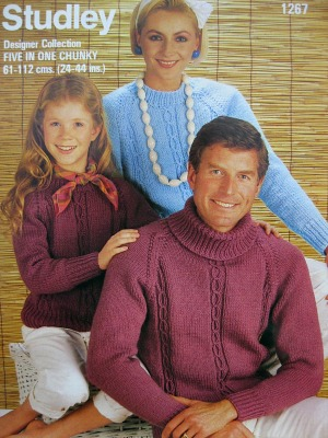 80s Knitting pattern - chunky knit sweaters