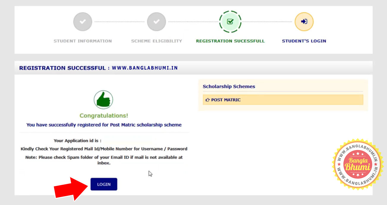 Registration Successful - Online Application Aikashree Scholarship West Bengal