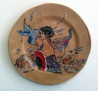 grande piatto ceramica motivo klimt dama con ventaglio fatto e decorato a mano