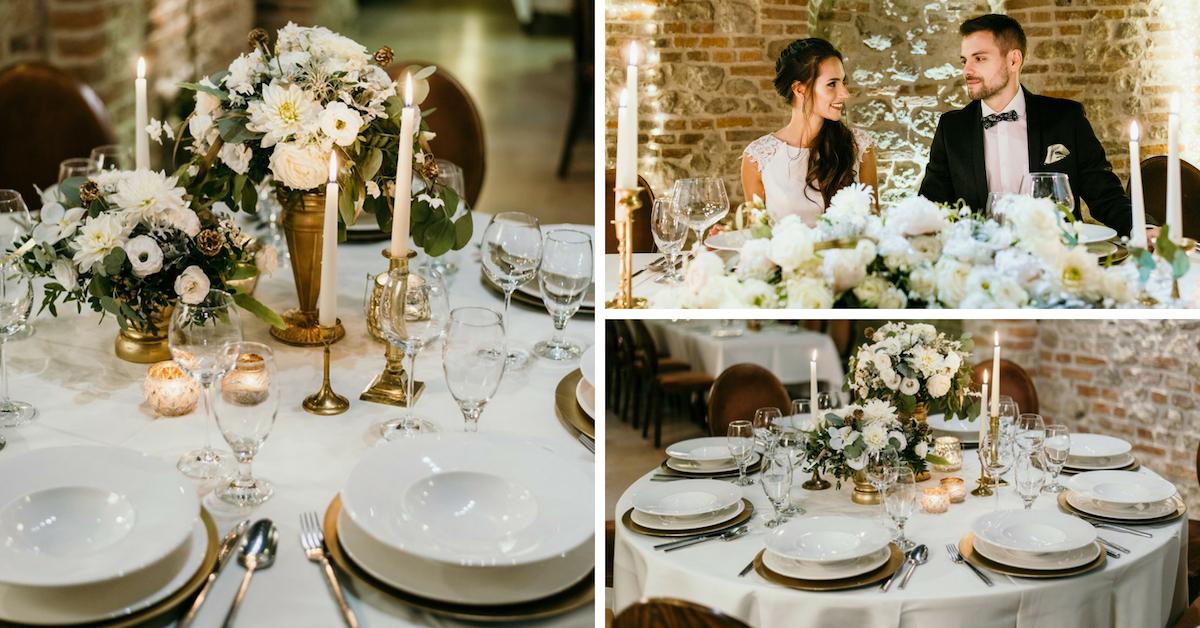 Klasyczne dekoracje stołu weselnego.