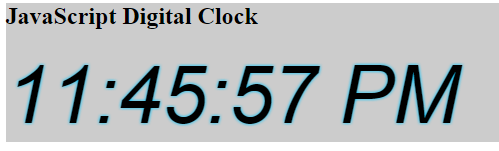 JavaScript Digital Clock Example