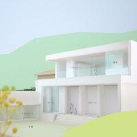 相模湾を望む白い大広間の家