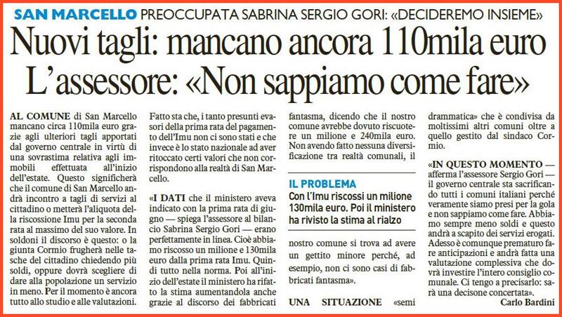QUARRATAnews  QUOTIDIANO ON LINE SAN MARCELLO IL TROMBONE DELLASSESSORE SABRINA SERGIO GORI