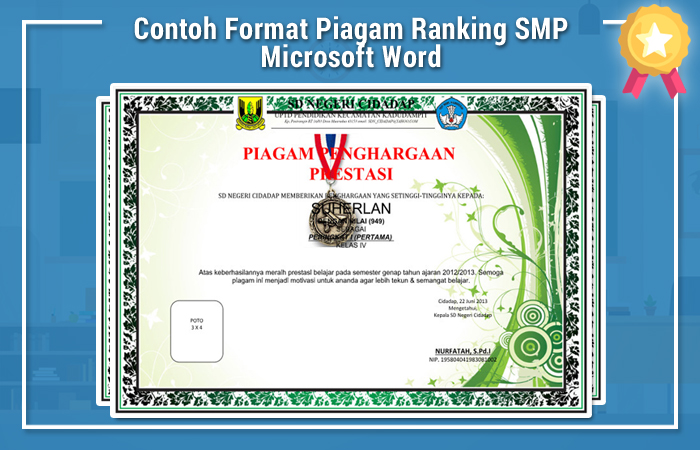 Contoh Format Piagam Ranking SMP Microsoft Word