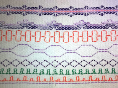 Sampler of traditional huck weaving stitches